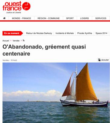 Un article sur O'abandonado dans ouest-france